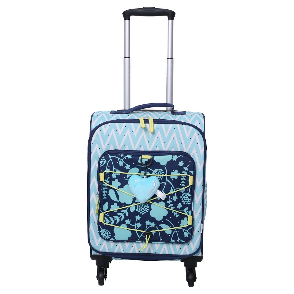Crckt 19.5 Spinner Carry On Luggage - Blue Chevron Floral