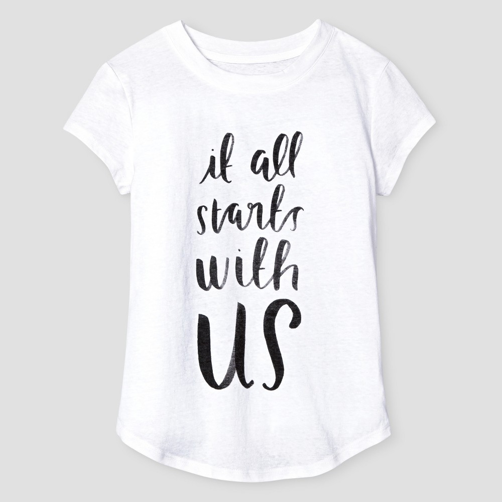 Girls' It All Starts With Us Graphic T-Shirt - Cat & Jack White Xxl (18)