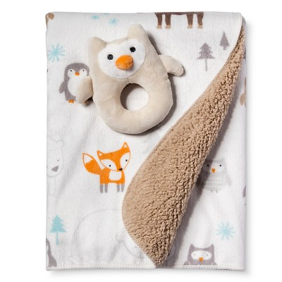 Owl Valboa Ring Rattle and Blanket Set - Circo™