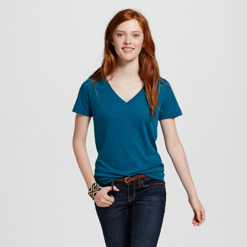 Women's Boyfriend V-Tee Turquoise with Silver Shine XL - Mossimo Supply Co. (Juniors')