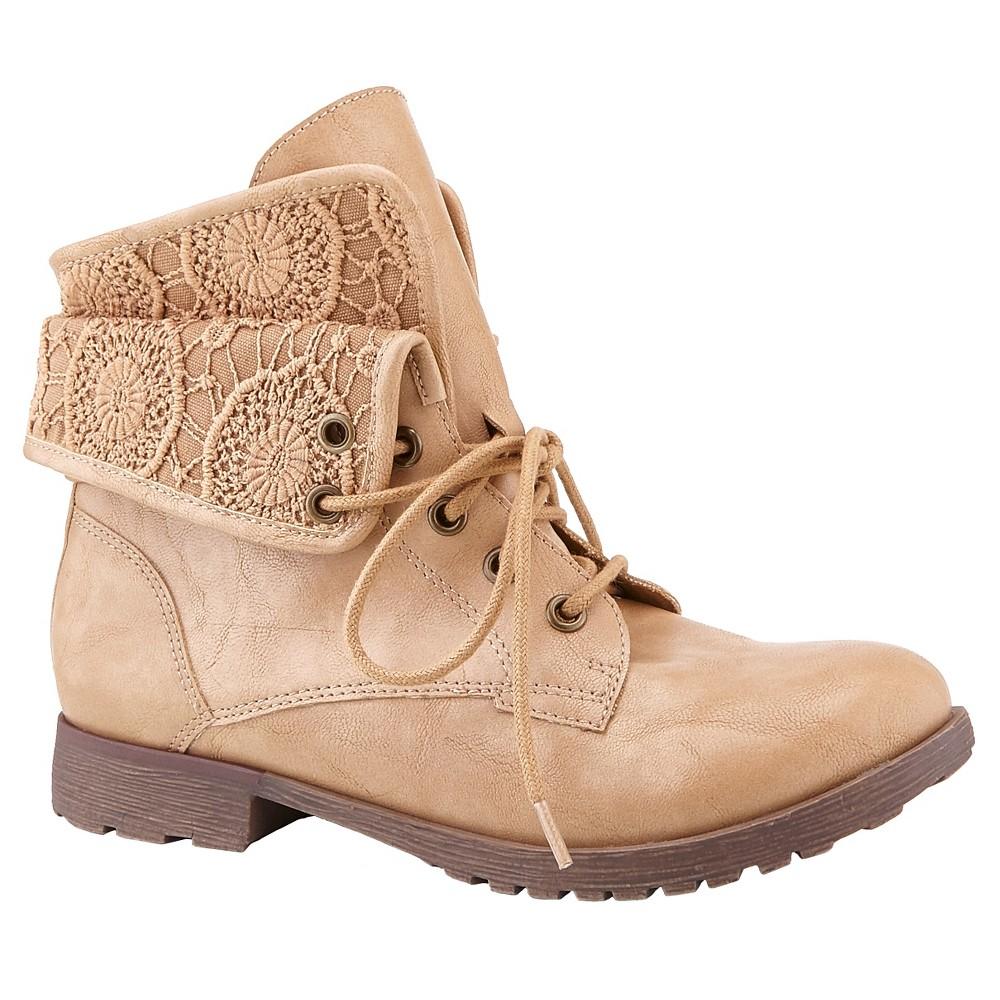 Womens Z London Bobo Combat Boots - Natural 7.5