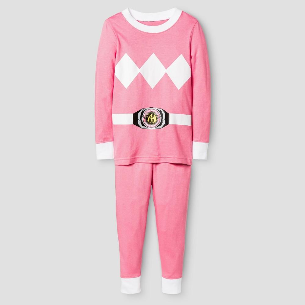 Toddler Girls' Power Rangers Long Sleeve Tight Fit 2-Piece Pajama Set Pink 2T