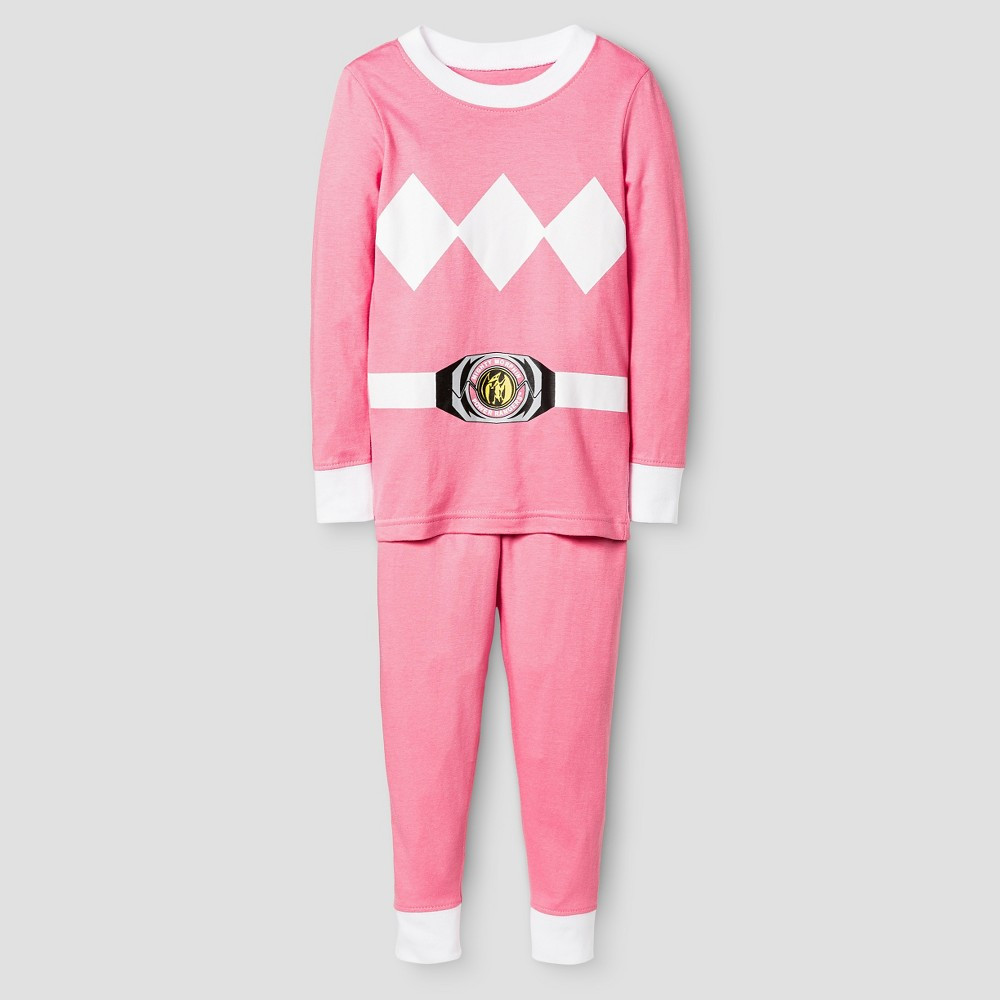 Toddler Girls Power Rangers Long Sleeve Tight Fit 2-Piece Pajama Set Pink 3T