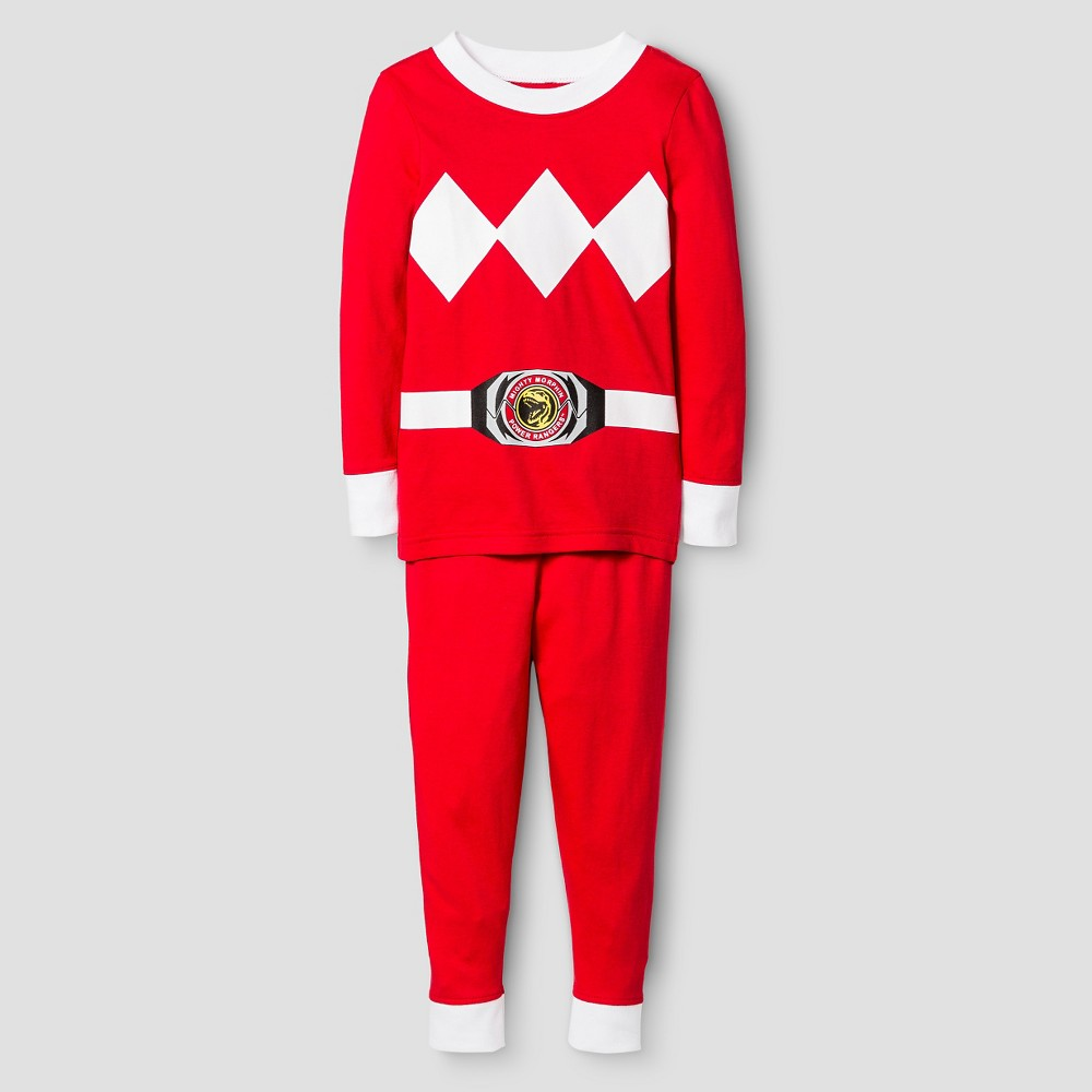 Toddler Boys Power Rangers Long Sleeve Tight Fit 2-Piece Pajama Set Red 2T