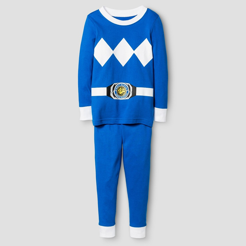 Toddler Boys Power Rangers Long Sleeve Tight Fit 2-Piece Pajama Set Blue 4T