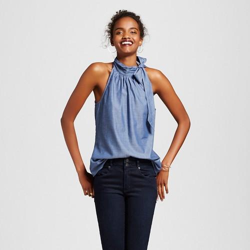 Women's Chambray Tie Neck Top Vintage Blue S - 3Hearts (Juniors')