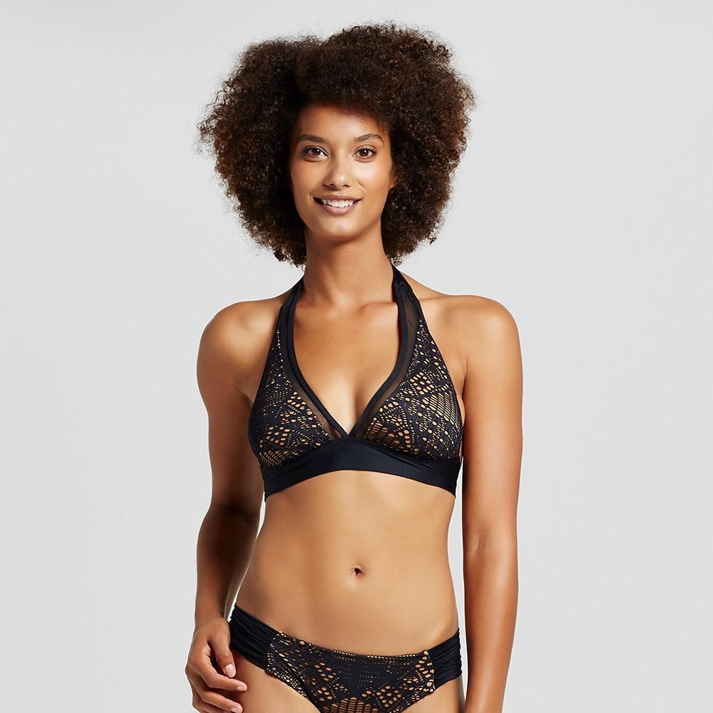 Women's Crochet Mesh Halter Bikini Top - Black - XS - Mossimo