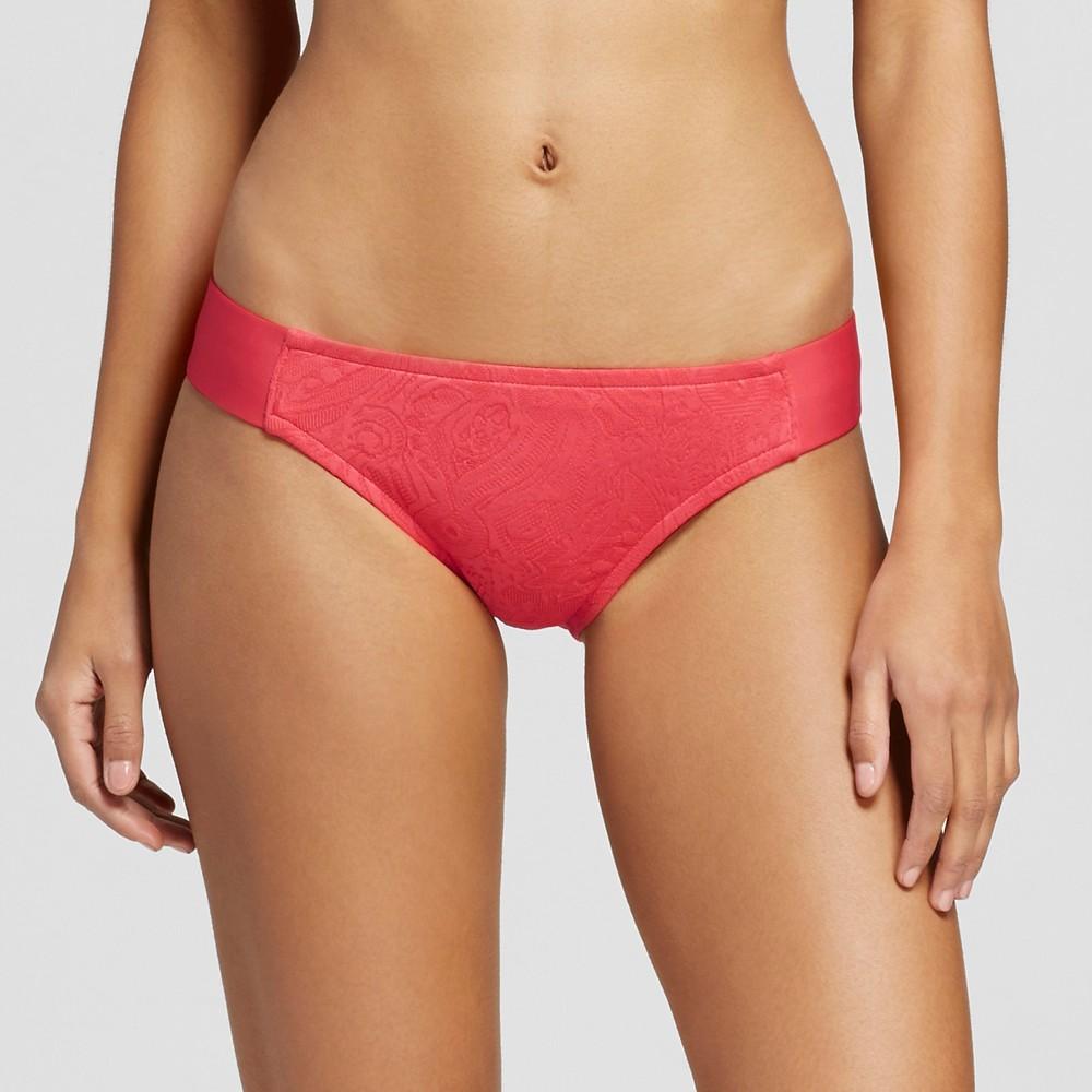 Womens Textured Modern Tabside Bikini Bottom - Coral Crush - L - Mossimo, Pink