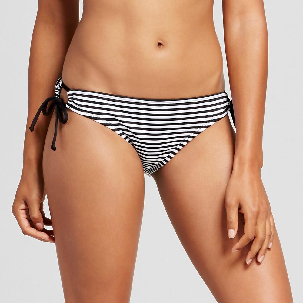 Womens Keyhole String Bikini Bottom - Black/White L - Mossimo