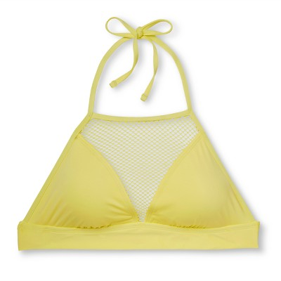 Women's Mesh High Neck Halter Bikini Top - Lemon Yellow - M - Mossimo