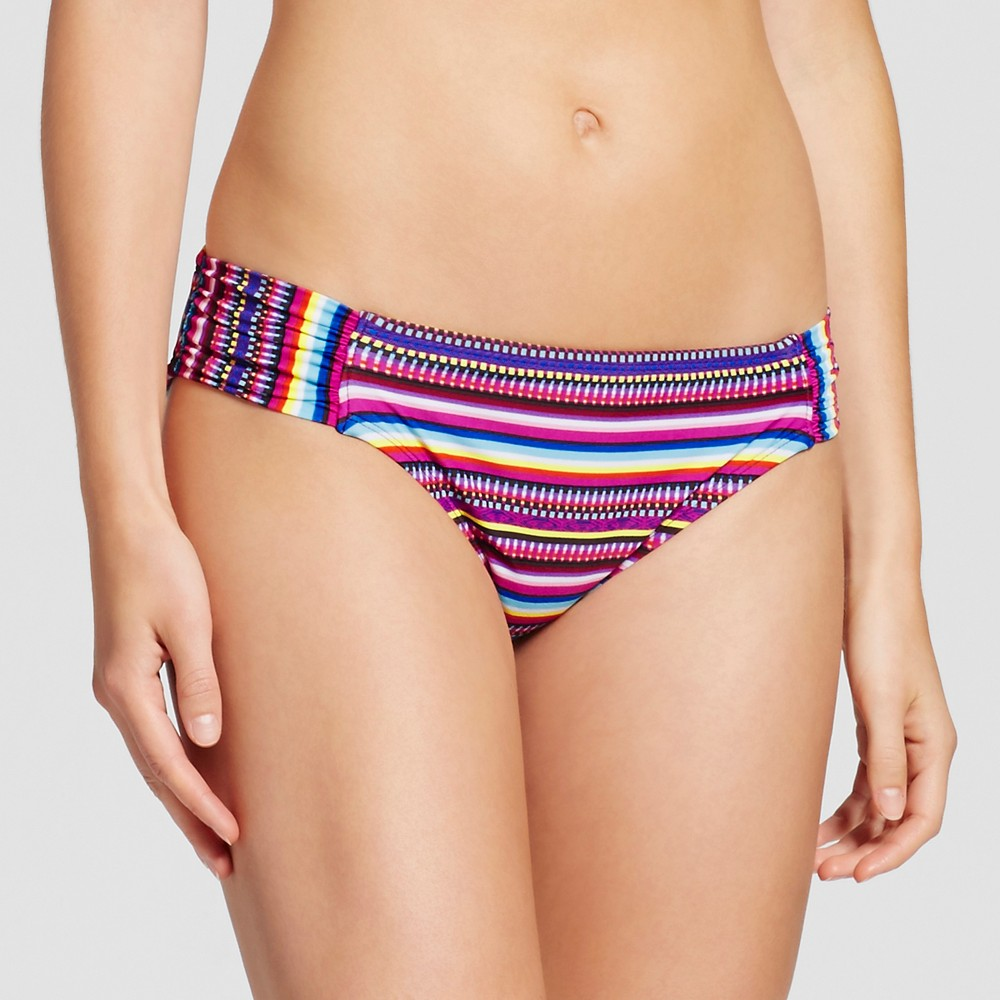 Women's Tabside Hipster Bikini Bottom – Deep Red Stripe – M – Mossimo
