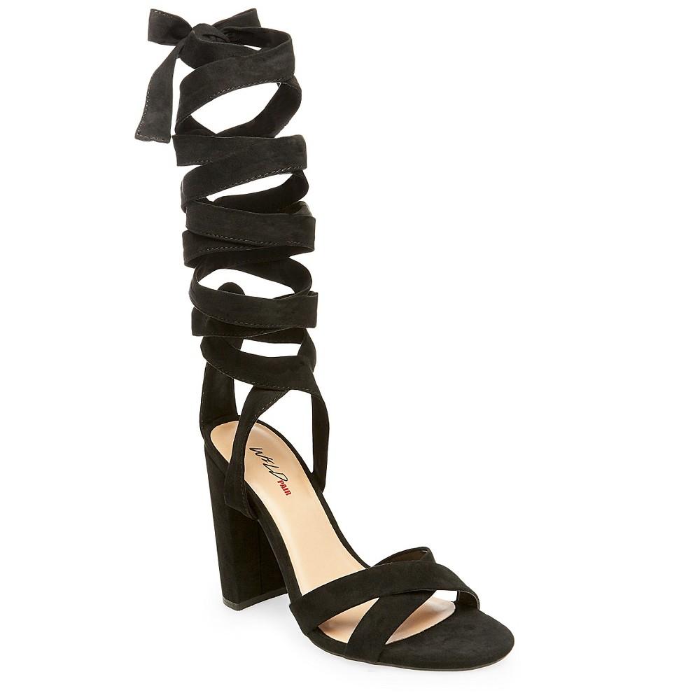 Womens Wild Pair Cosmo Black Heel Ankle Wrap Sandal - Black 9.5