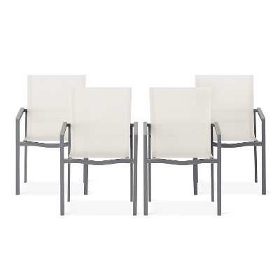 Sarson 4pk White Sling Patio Dining Chair With Gray Frame   Threshold™