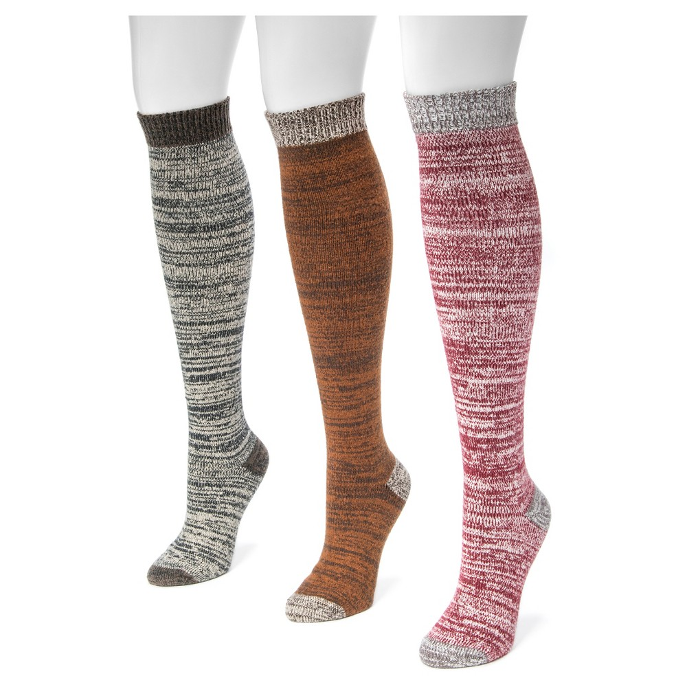 Muk Luks Womens 3 Pair Pack Microfiber Knee High Socks - Multicolor One Size, Multi-Colored