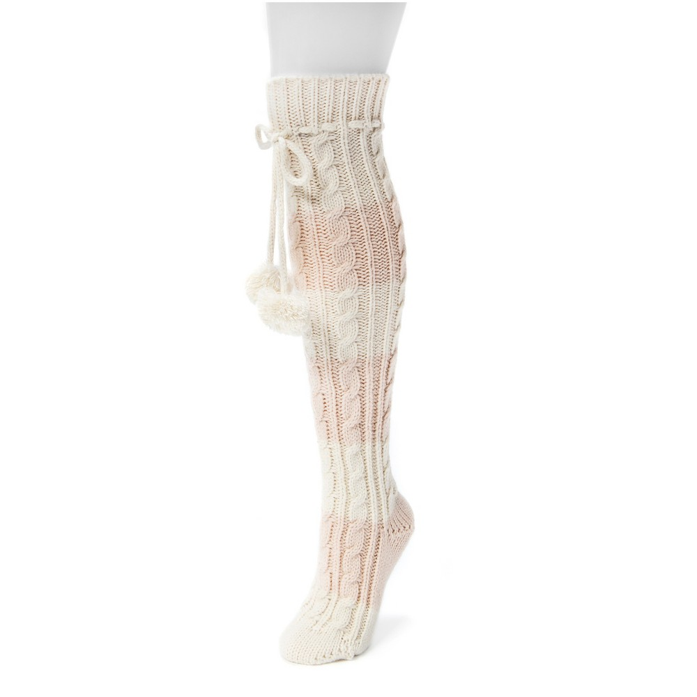 Muk Luks Womens 1-Pair Knee High Cable Socks - Pink One Size