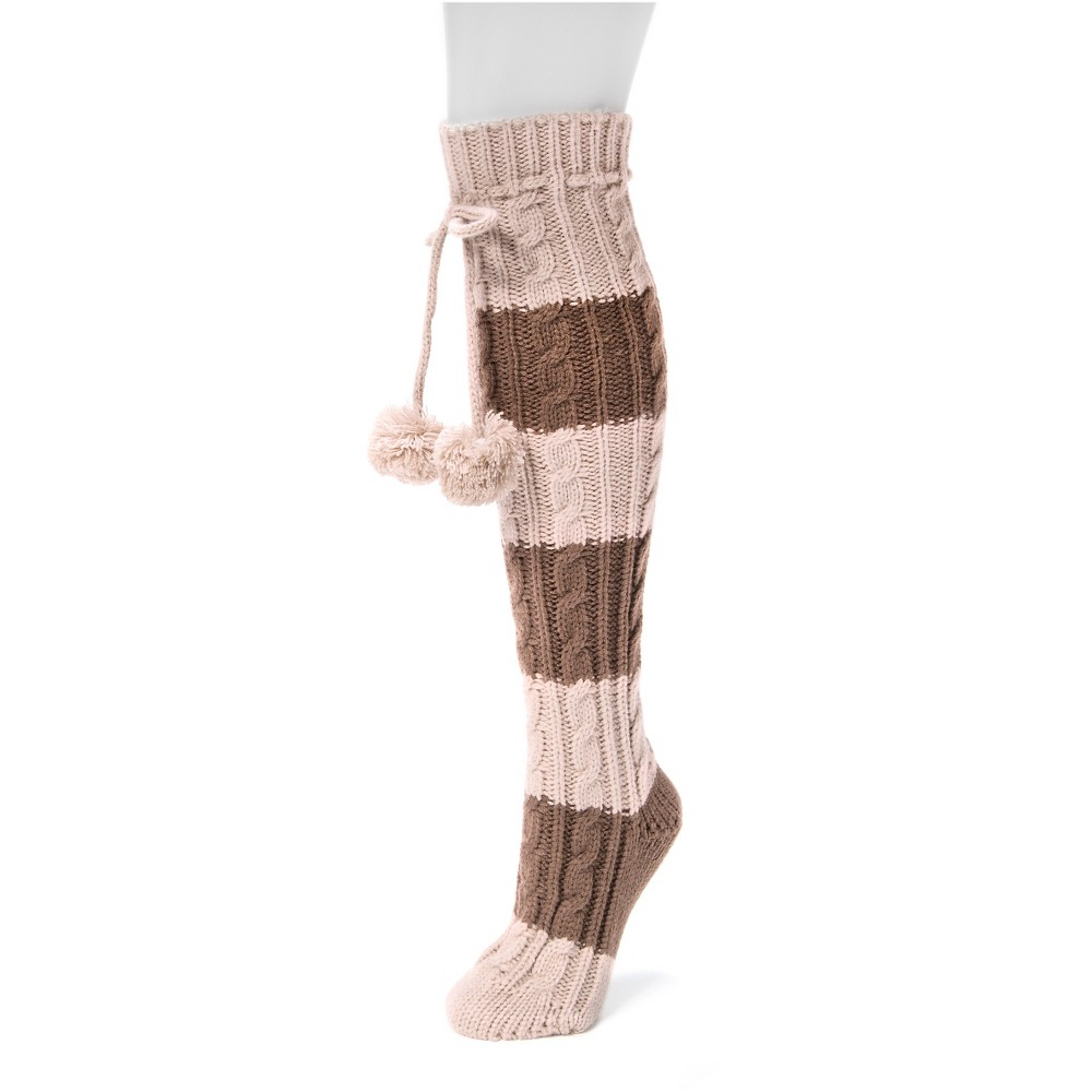 Muk Luks Womens 1-Pair Knee High Cable Socks - Brown One Size