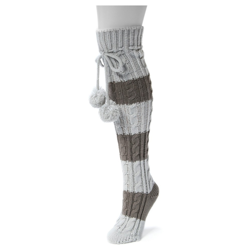 Muk Luks Womens 1-Pair Knee High Cable Socks - Gray One Size
