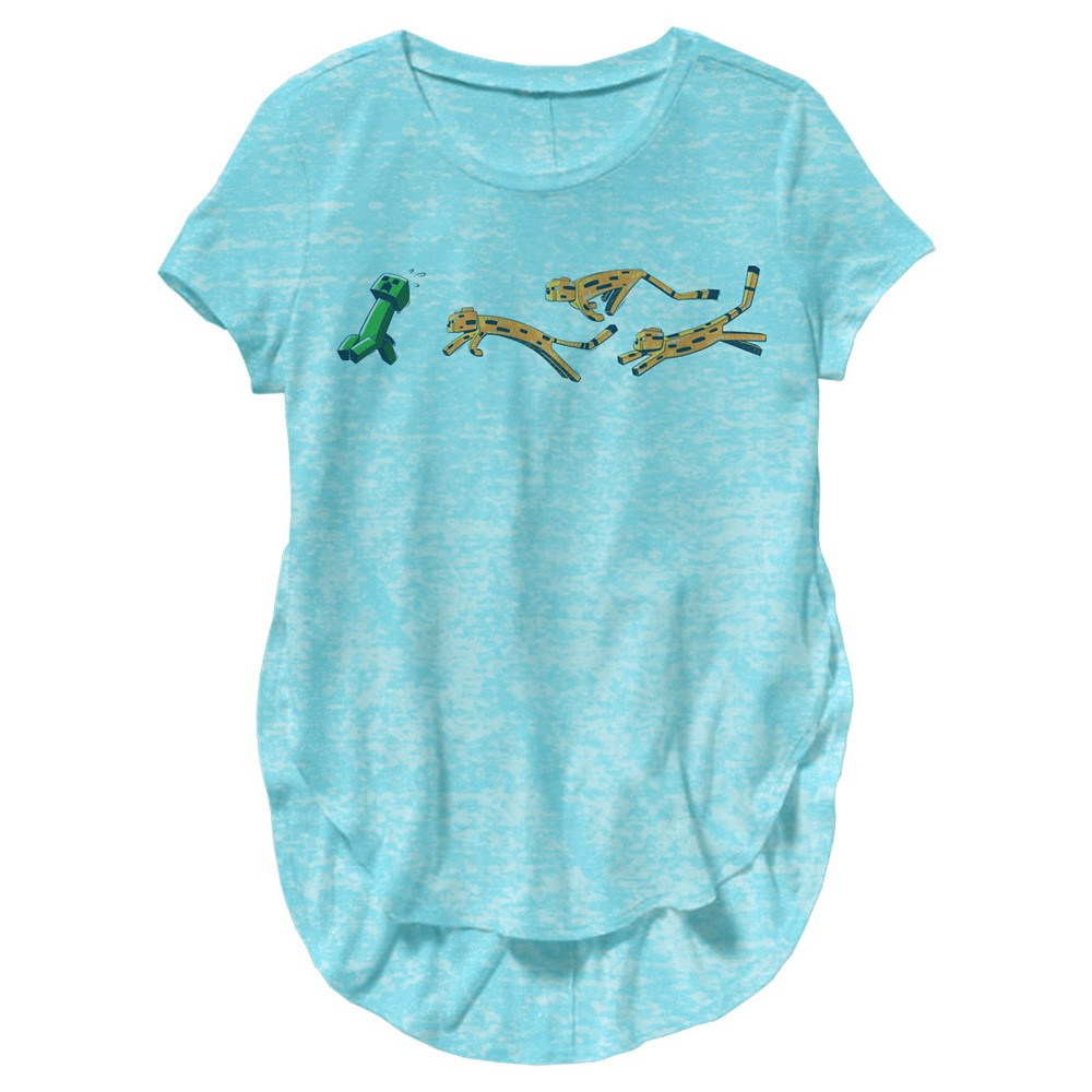 Plus Size Minecraft Pounce Girls' Burnout Tee Turquoise L Plus by Jinx, Girl's, Blue