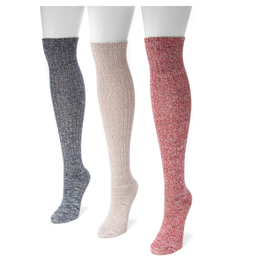 Muk Luks Women's 3 Pair Pack Marl Knee High Socks - Love America, Blue