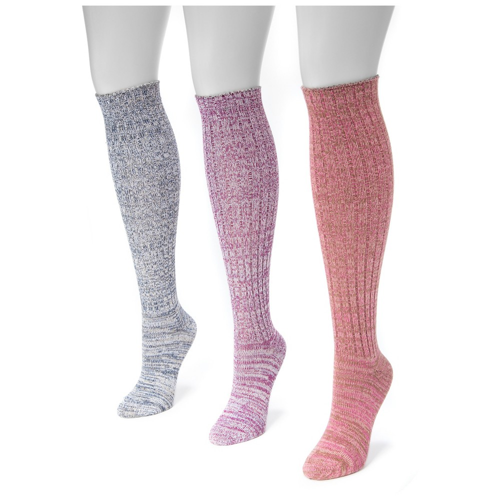 Muk Luks Womens 3 Pair Pack Marl Knee High Socks - Multicolor One Size, Multi-Colored