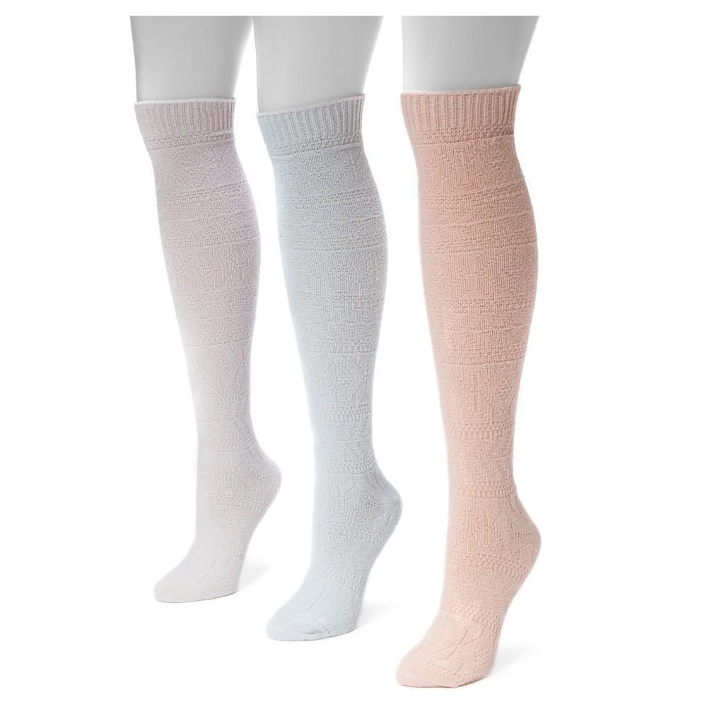 Muk Luks Womens 3 Pair Pack Diamond Knee High Socks - Multicolor One Size, Multicolor Rainbow
