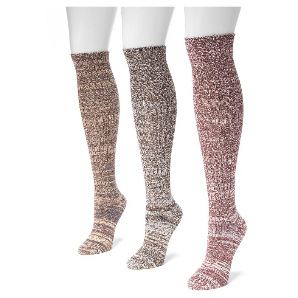 Muk Luks Womens 3 Pair Pack Gaucho Girl Marl Knee High Socks - Gradient One Size