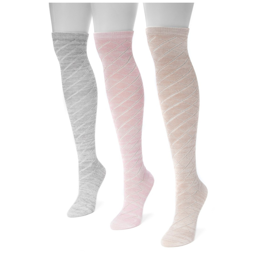 Muk Luks Womens 3 Pair Pack Pointelle Marl Knee High Socks - Multicolor One Size, Multi-Colored