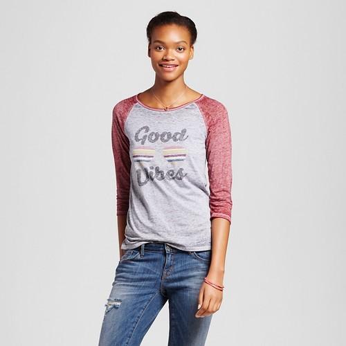 Women's Good Vibes Graphic Raglan Grey XS - L.O.L. Vintage, Gray