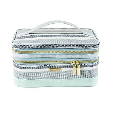 Sophia Joy Striped Riviera Double Zip Train Case Cosmetic Bag