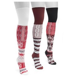 MUK LUKS® Women's 3 Pair Pack Lodge Over the Knee Socks - Multicolor One Size