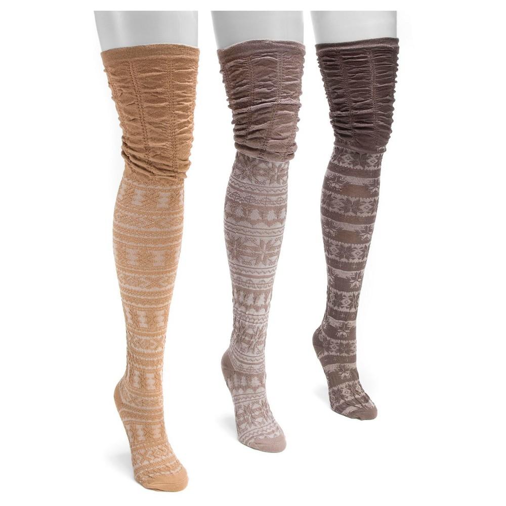 Muk Luks Womens 3 Pair Pack Microfiber Over the Knee Socks - Brown One Size