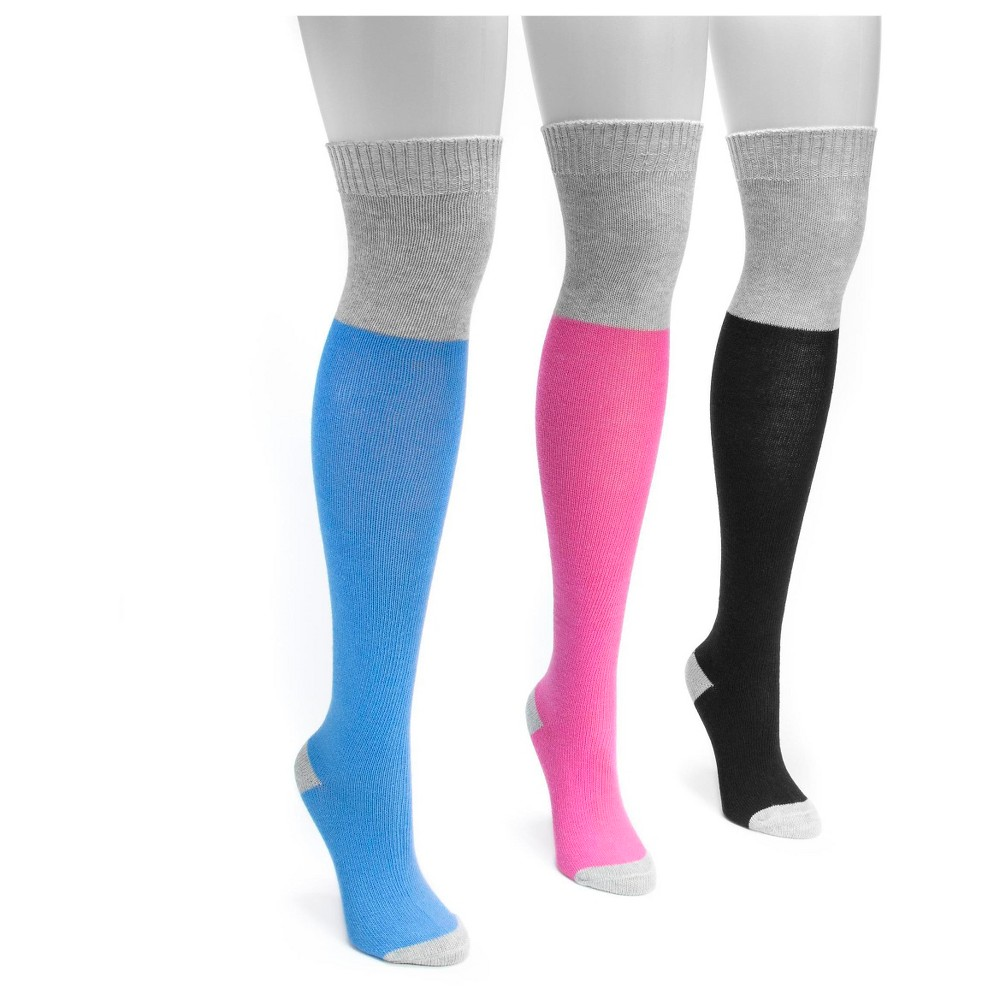 Muk Luks Womens 3 Pair Pack Color Block Over the Knee Socks - Multicolor One Size, Multi-Colored