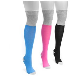 MUK LUKS® Women's 3 Pair Pack Color Block Over the Knee Socks - Multicolor One Size
