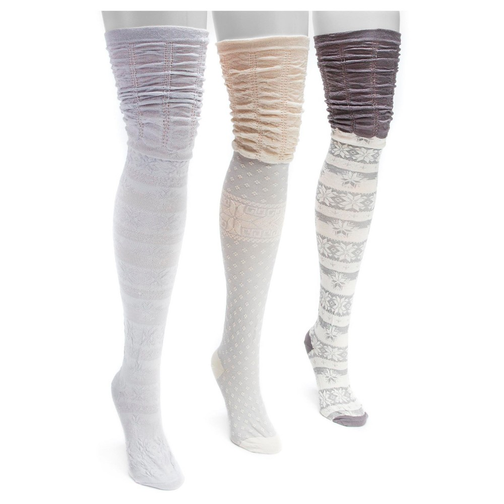 Muk Luks Womens 3 Pair Pack Microfiber Over the Knee Socks - Gray One Size