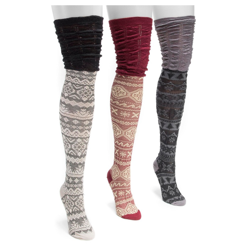 Muk Luks Women's 3 Pair Pack Microfiber Over the Knee Socks - Multicolor One Size, Multi-Colored
