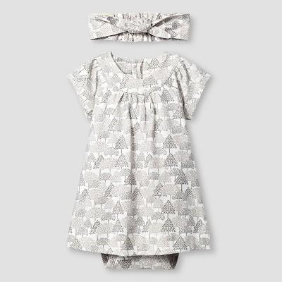 Kate Quinn Organics Baby Girls' Dress Bodysuit & Headband Set - Brown 6-9M