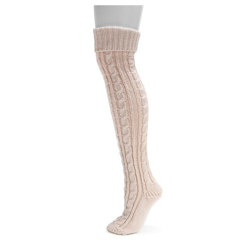 MUK LUKS® Women's Cable Knit Over the Knee Socks - Blush One Size - image 1 of 4
