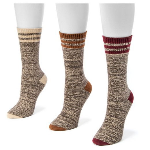 MUK LUKS® Women's 3 Pair Pack Striped Marl Boot Socks - Multicolor One Size - MUK LUKS® Women's 3 Pair Pack Striped Marl Boot Socks - Multicolor