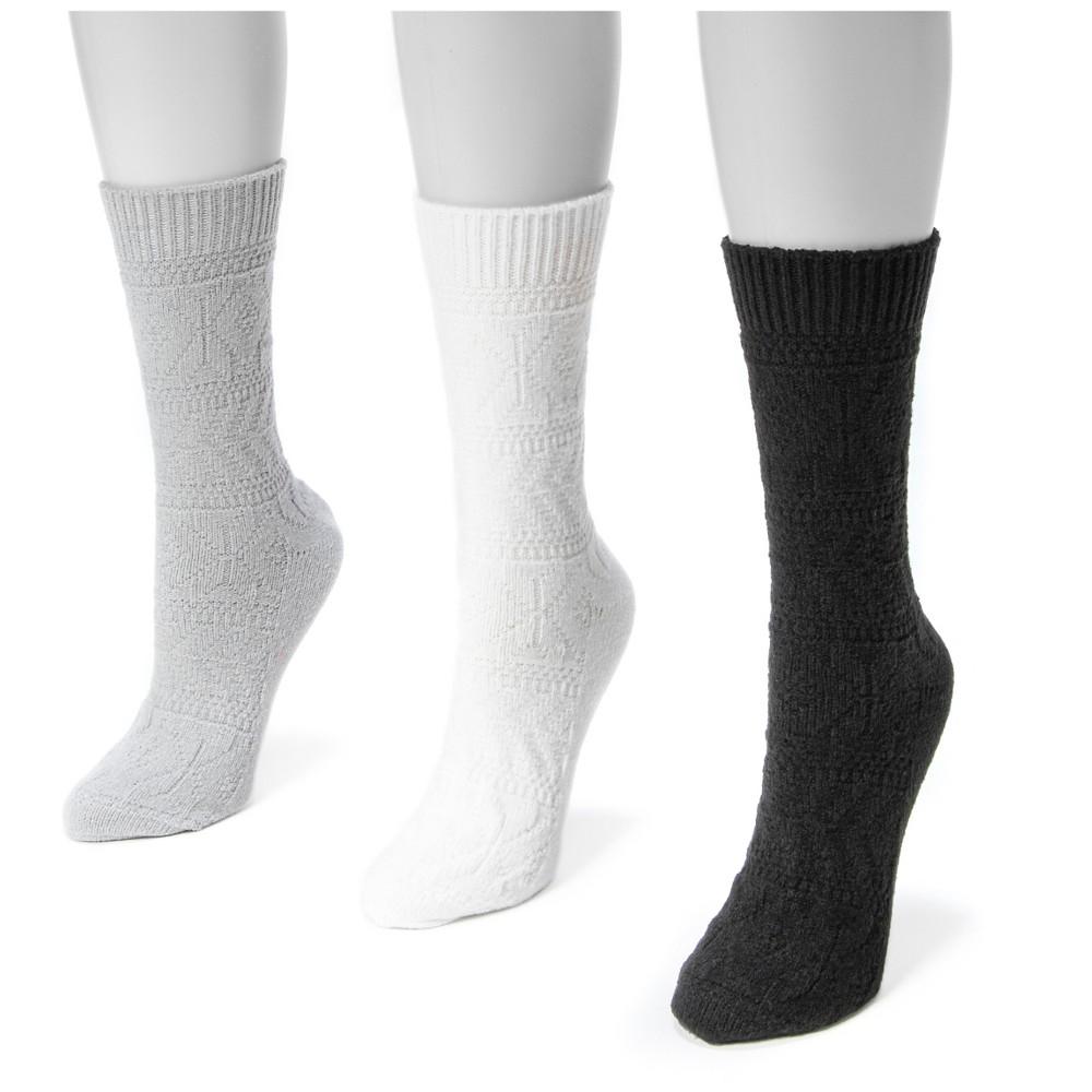Muk Luks Womens 3 Pair Pack Pointelle Boot Socks - Multicolor One Size, Black