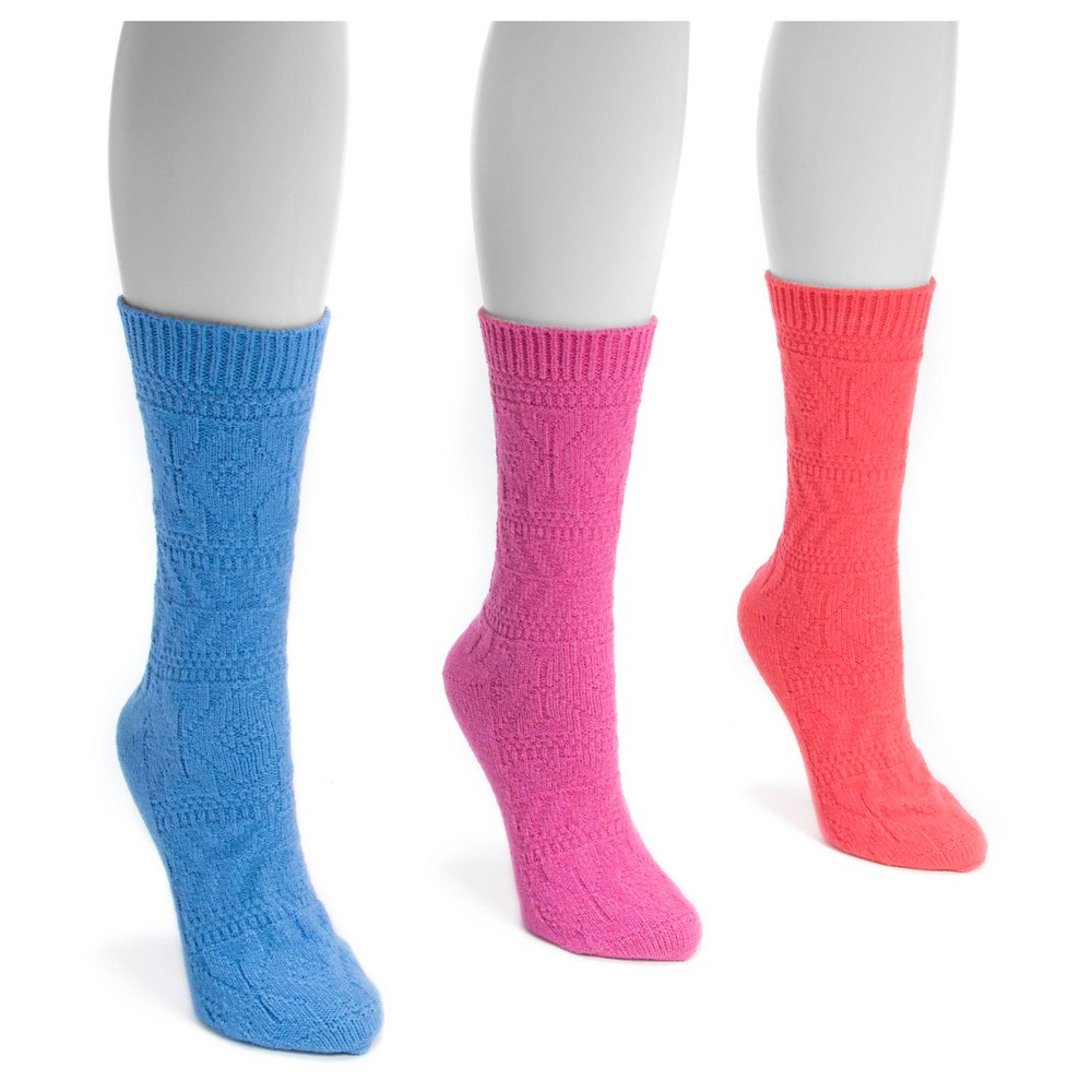 Muk Luks Womens 3 Pair Pack Pointelle Boot Socks - Multicolor One Size, Pink