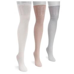 MUK LUKS® Women's 3 Pair Pack Open Pointelle Over the Knee Socks - Multicolor One Size