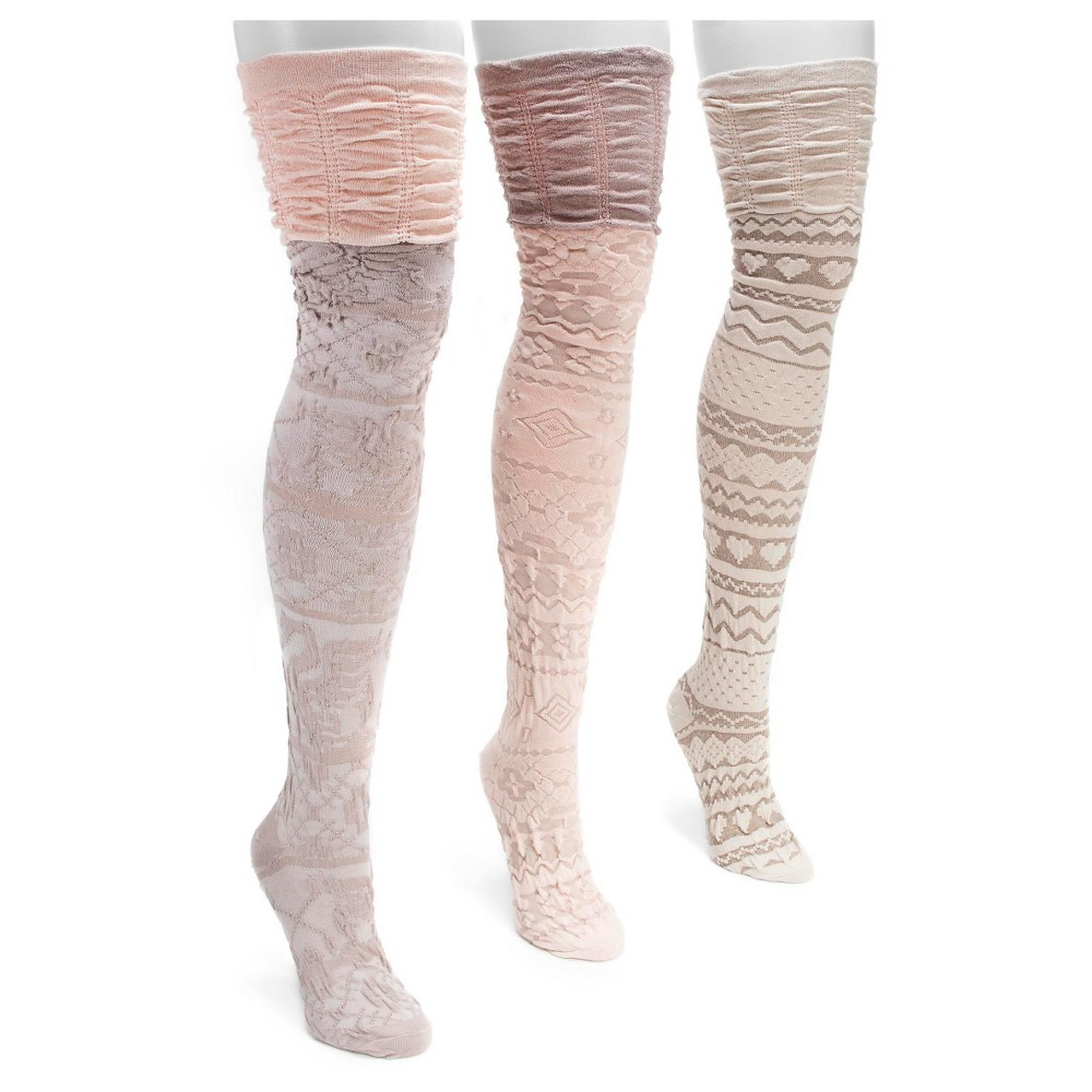Muk Luks Womens 3 Pair Pack Microfiber Over the Knee Socks - Neutral One Size, Multi-Colored