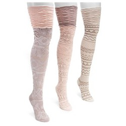 MUK LUKS® Women's 3 Pair Pack Microfiber Over the Knee Socks - Neutral One Size