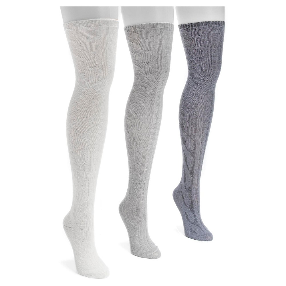 Muk Luks Womens 3 Pair Pack Cable Knit Over the Knee Socks - Multicolor One Size, Multi-Colored