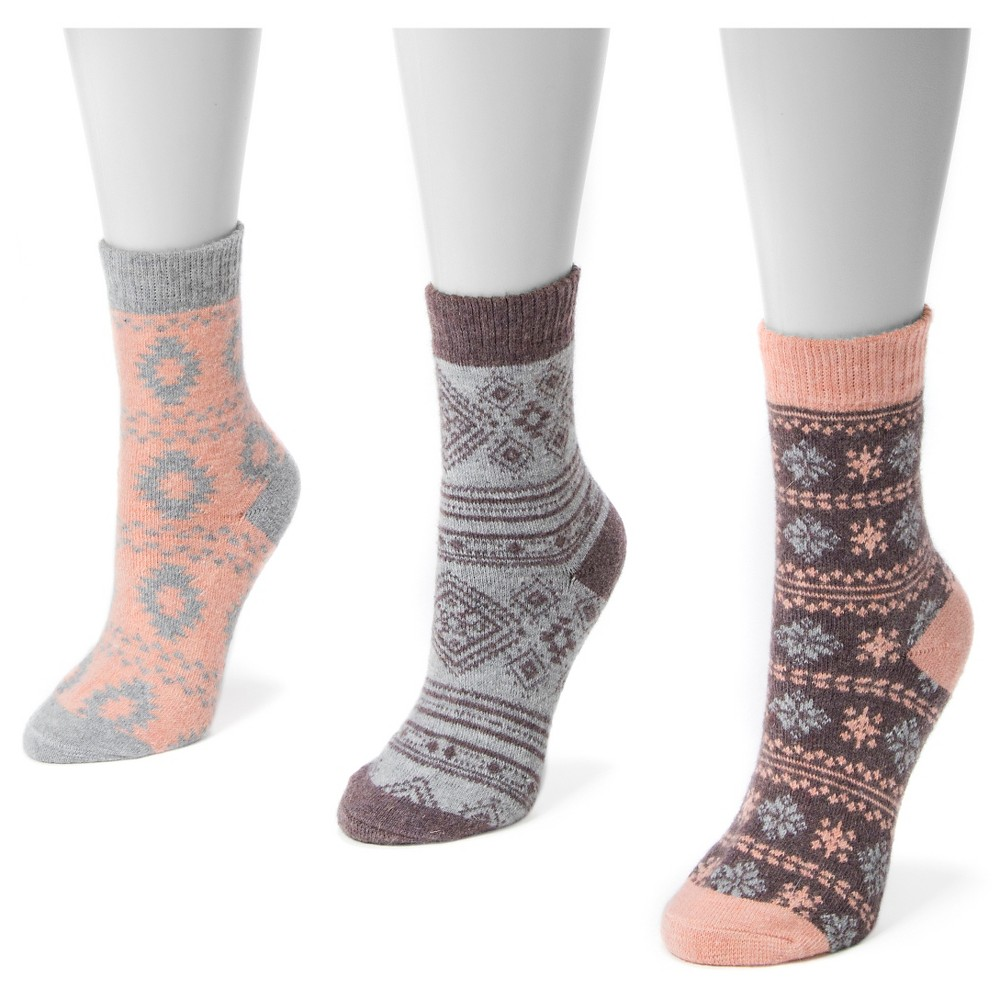 Muk Luks Womens 3 Pair Pack Holiday Boot Socks - Pastel One Size, Multi-Colored