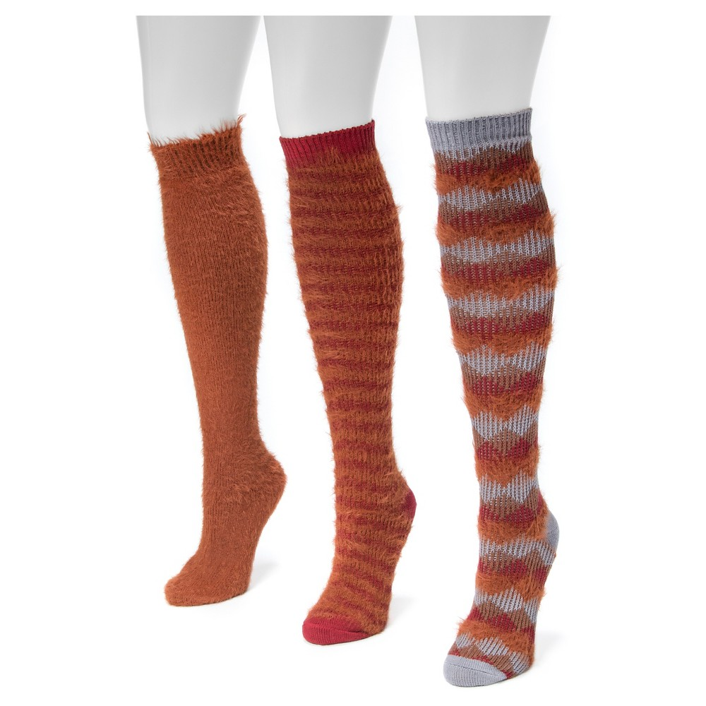 Muk Luks Womens 3 Pair Pack Fuzzy Yarn Knee High Socks - Multicolor One Size, Red