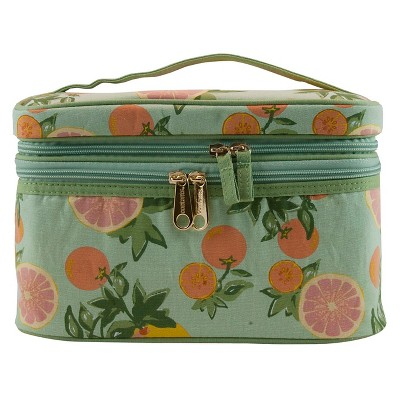 Contents Citrus Floral Double Zip Train Case Cosmetic Bag