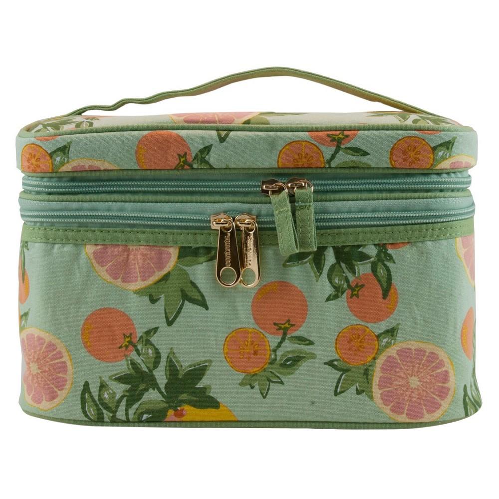 Contents Citrus Floral Double Zip Train Case Cosmetic Bag