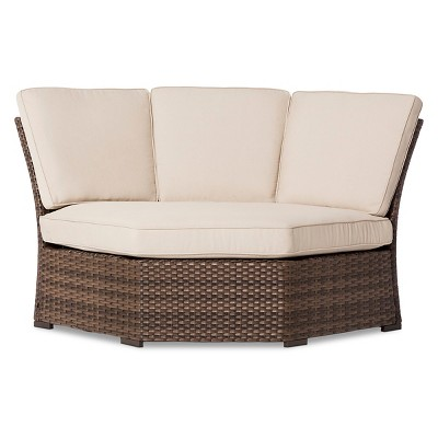 Halsted Wicker Patio Corner Sectional Seat - Tan - Threshold™