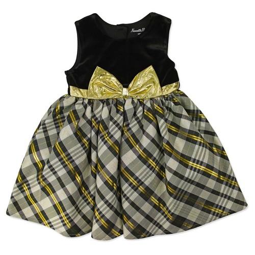 Baby Grand Signature Baby Girls' Velvey Plaid Dress - Black 18M, Infant Girl's, Size: 18 M
